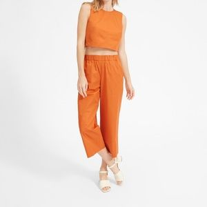 Everlane crop top and pull on wide leg pant